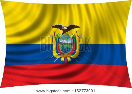 Ecuadorian national official flag. Patriotic symbol banner element background. Correct colors. Flag of Ecuador waving isolated on white 3d illustration