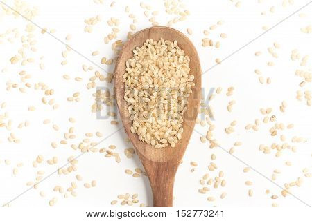 Wholegrains Cateto Rice. Integral isolated on white background