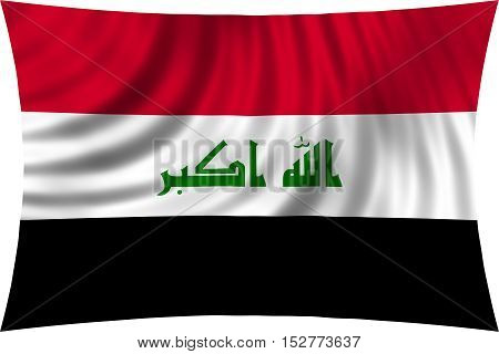 Iraqi national official flag. Irak patriotic symbol element background. Iraki banner. Correct colors. Flag of Iraq waving isolated on white 3d illustration
