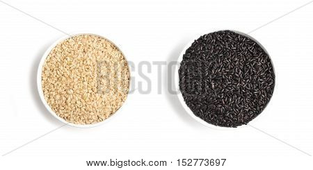 Wholegrain Black and White Rice. Wholemeal. Integral on white background
