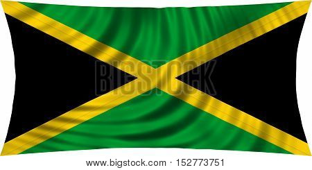 Jamaican national official flag. Patriotic symbol banner element background. Correct colors. Flag of Jamaica waving isolated on white 3d illustration