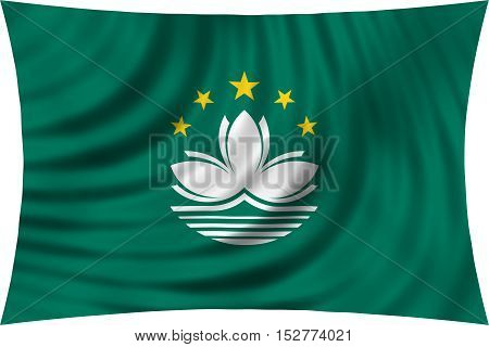 Macanese official flag. Patriotic chinese symbol banner element background. Macau is special region of PRC. Correct colors. Flag of Macau waving isolated on white 3d illustration