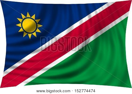 Namibian national official flag. African patriotic symbol banner element background. Correct colors. Flag of Namibia waving isolated on white 3d illustration