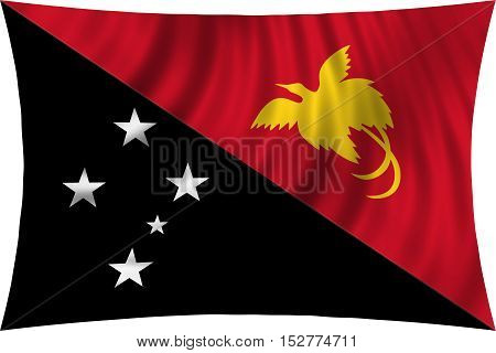 Papua New Guinean national official flag. Papuan patriotic symbol banner element background. Correct colors. Flag of Papua New Guinea waving isolated on white 3d illustration