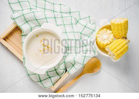 Hot Corn Soup In A White Bowl