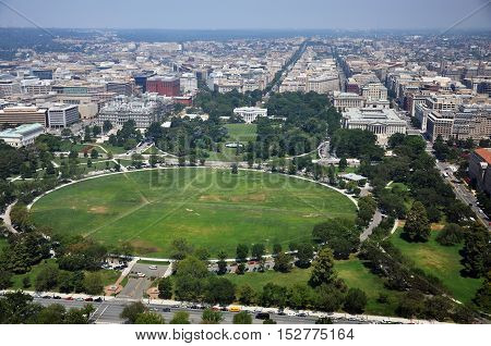Aerial View of the White House and the Ellipse in Washington DC, USA.