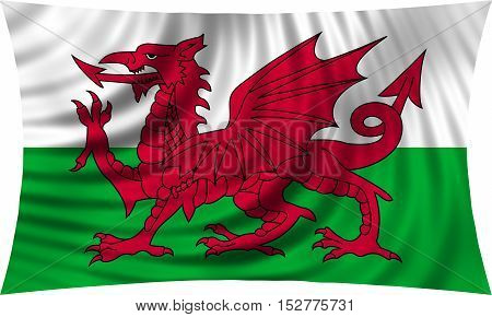 Welsh national official flag. Patriotic symbol banner element background. Correct colors. Flag of Wales waving isolated on white 3d illustration