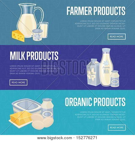 Dairy horizontal website templates with different milk products, vector illustrations with space for text. Nutritious and healthy products. Organic farming. Organic food and dairy product concept. Milk product icon. Cartoon dairy product. Dairy icon.