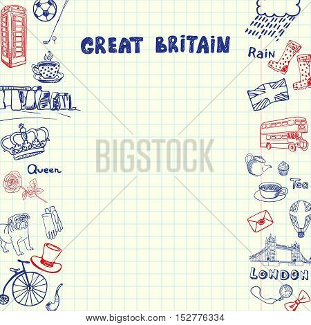 England associated symbols. England national and cultural related and sketches with pen Great Britain ethnic elements. London concept sketches and England background sign. England vector doodle. London art. Double-decker bus, phone booth, tea at 5 o'clock