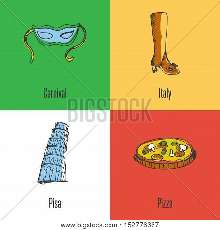 Italy national symbols. Venetian carnival mask, fashion shoes, Pisa Tower, pizza colored hand drawn doodles vector icons with caption on colored backgrounds. Italy foods icons. Travel to Italy symbol concept. Discover Italy. Elements of Italy for travel a