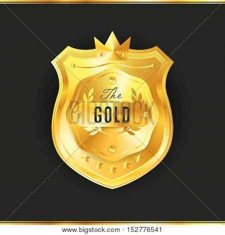 Gold metal badge vintage style isolated vector illustration. Icon of gold badge. Special offer badge. Award or medal of special offer golden badge. Golden badge vector.