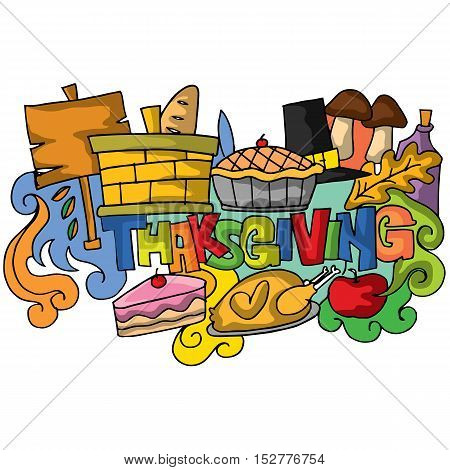 Thanksgiving doodle art colorful stock vector illustration