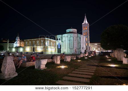Zadar, Croatia - July 19, 2016: night view of the Roman Forum and Church of St. Donatus in old city Zadar.