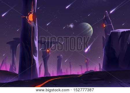 Fantastic and Exotic Allen Planet's Environment: Stonehenge. Video Game's Digital CG Artwork, Concept Illustration, Realistic Cartoon Style Background