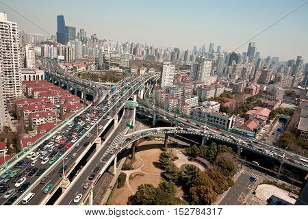 Aerial photography at  shanghia city viaduct bridge