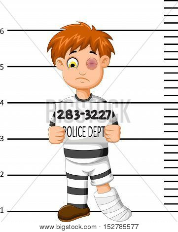 Male prisoner in cartoon being measured height