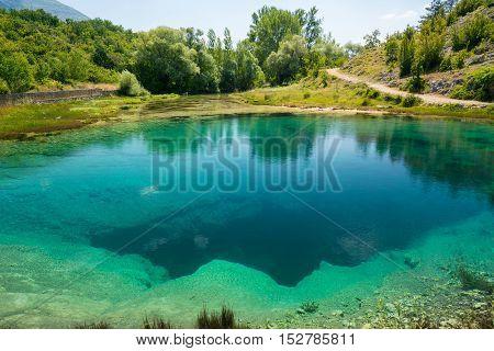 Cetina water source karst spring in Croatia