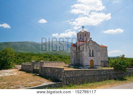 church near the Cetina water source karst spring in Croatia