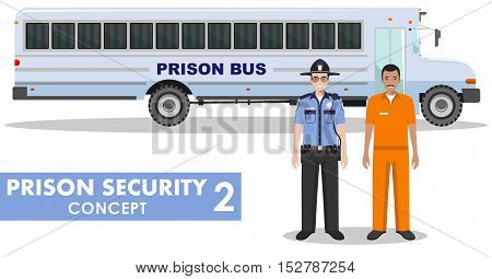 Detailed illustration of prison bus, police guard and prisoner on white background in flat style.