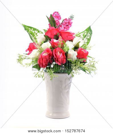 flowers in vase isolated on white background.