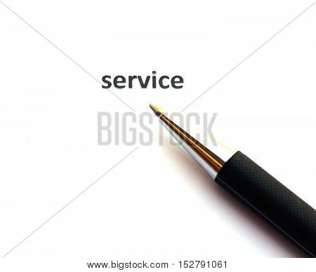 Service with pen isolated on white background.
