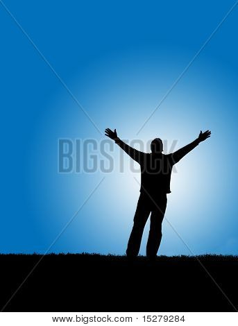 Silhouette of a man with arms lifted up to the sky.