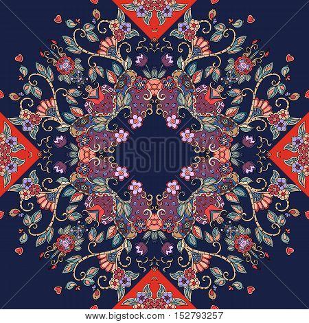 Decorative floral ornament. Bandana print or kerchief square pattern design. Vector illustration.