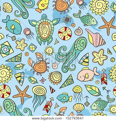 beach and sea doodles holiday at the seaside
