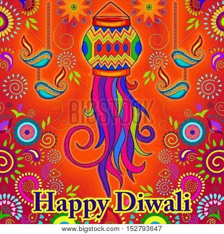 Vector design of Diwali hanging Lamp for Happy Diwali prayer festival of India in Indian art style