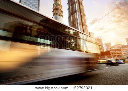 China Shanghai modern architecture motion blur car.