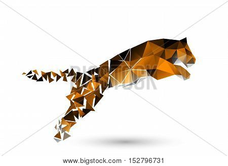 On the image presented leaping tiger from polygons