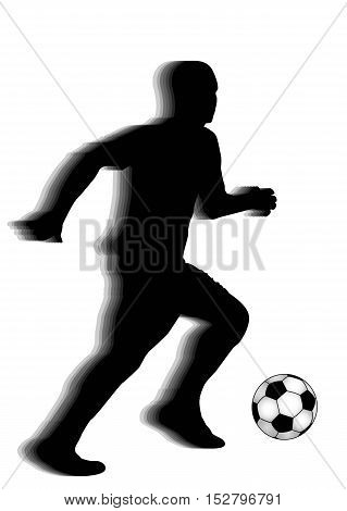 man playing with ball silhouette, vector illustration