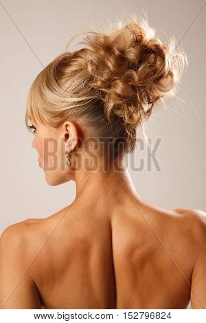 Backview of  a bridal proffesional modern hairstyle
