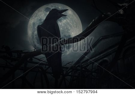 Crow sit on dead tree trunk and croak over fence old grunge castle moon and cloudy sky Mysterious background Halloween concept