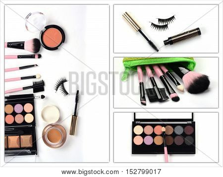 makeup brush and cosmetics. Woman make up accessories .