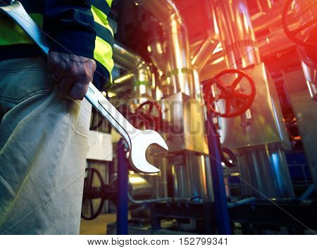 Industrial Worker With Spanner At штвгыекшфд Factory