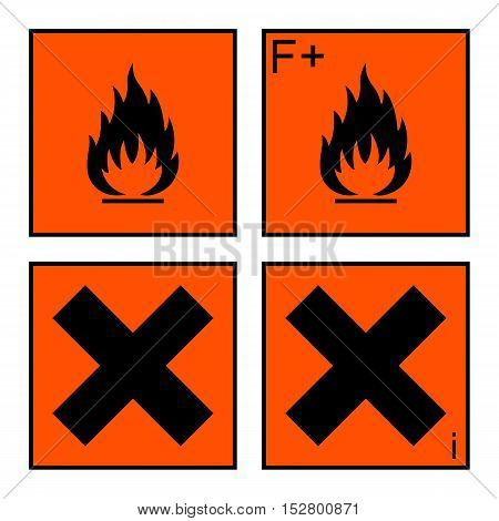 extremely flammable and harmful sign or symbol on orange rectangle. extremely flammable harmful and irritant labels. isolated on white background. vector illustration