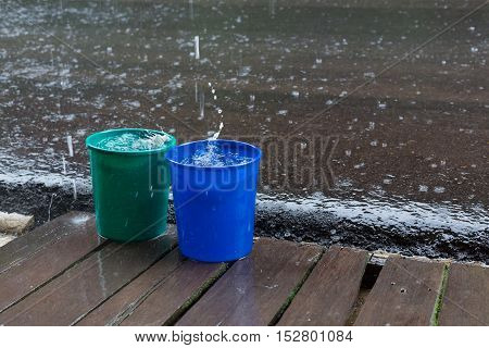 rain drop in bucket water weather rainy season