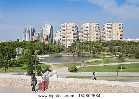 VALENCIA, SPAIN-OCTOBER 09, 2016: View of the turia park garden in Valencia, Spain