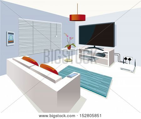 Modern interior Living Room in a home with smart control with technological equipment.