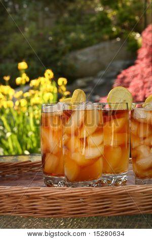 Lemon icetea outside in the summertime.