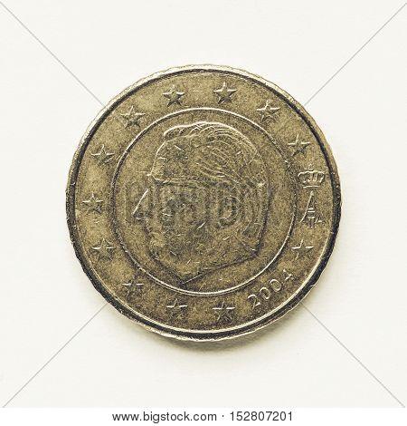 Vintage Belgian 50 Cent Coin