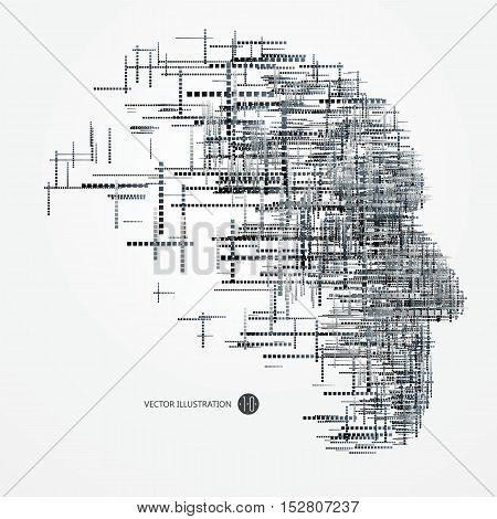 A lot of squares make up the head of the thinker technical illustrations.
