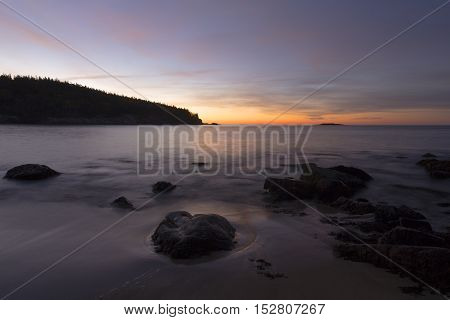 Pre sunrise long exposure of Sand Beach in Acadia National Park