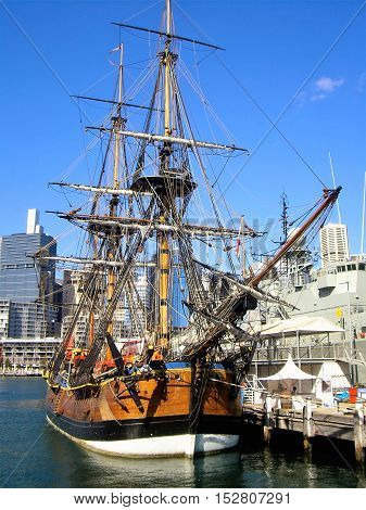 Galleon docked at the port of Sydney, Australia