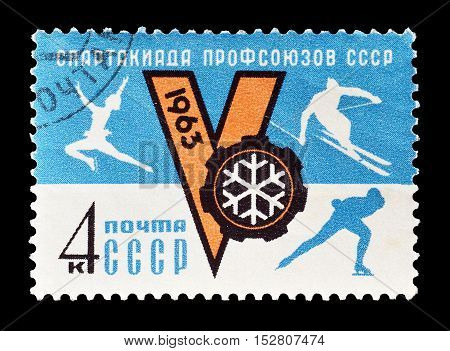 USSR - CIRCA 1963 : Cancelled postage stamp printed by USSR, that shows Different sports.