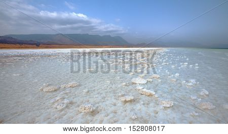 LAKE ASSALDJIBOUTI-FEBRUARY 062013:The saltiest lake in the world. The lowest point of Africa