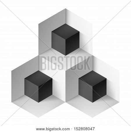 Abstract geometric object with black cubes for design