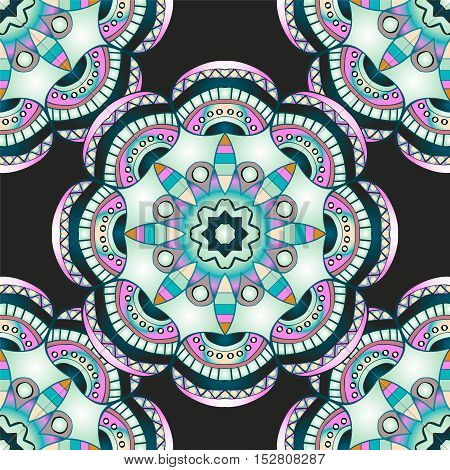 Seamless pattern with mandalas in modern nacre colors, trend of 2017 . Vector background