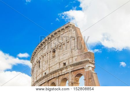 Exterior detail of the Flavian Amphitheatre Colosseum, in Rome, Italy